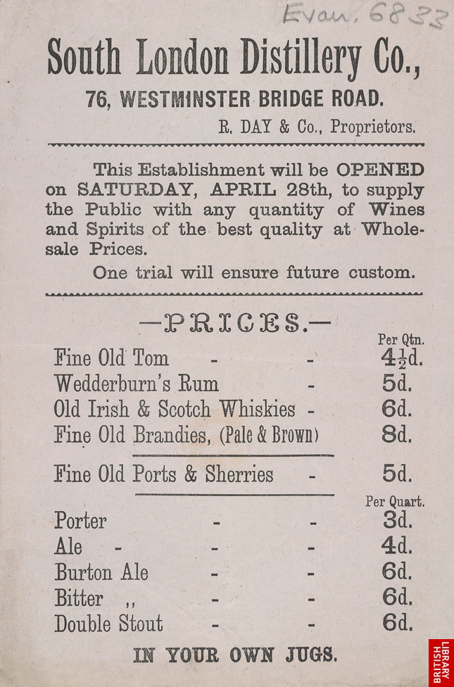 Advert for the South London Distillery Company